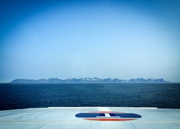 Ferry approaching the Lofoten Archipelago at around 6 am.