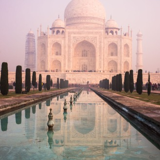 Taj Mahal in the morning pollution