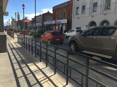 The main street, with wind proofing hand rails