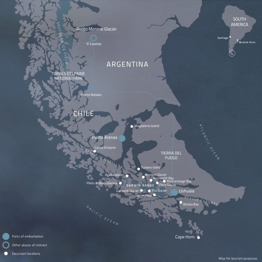The Magdalena Island is at the center of the map, surrounded by Strait of Magellan.